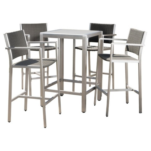 Cape Coral 5pc All Weather Wicker Metal Patio Bar Set