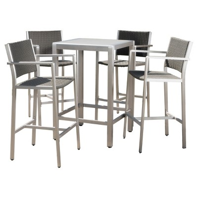 Cape Coral 5pc All Weather Wicker/Metal Patio Bar Set   Gray   Christopher  Knight Home