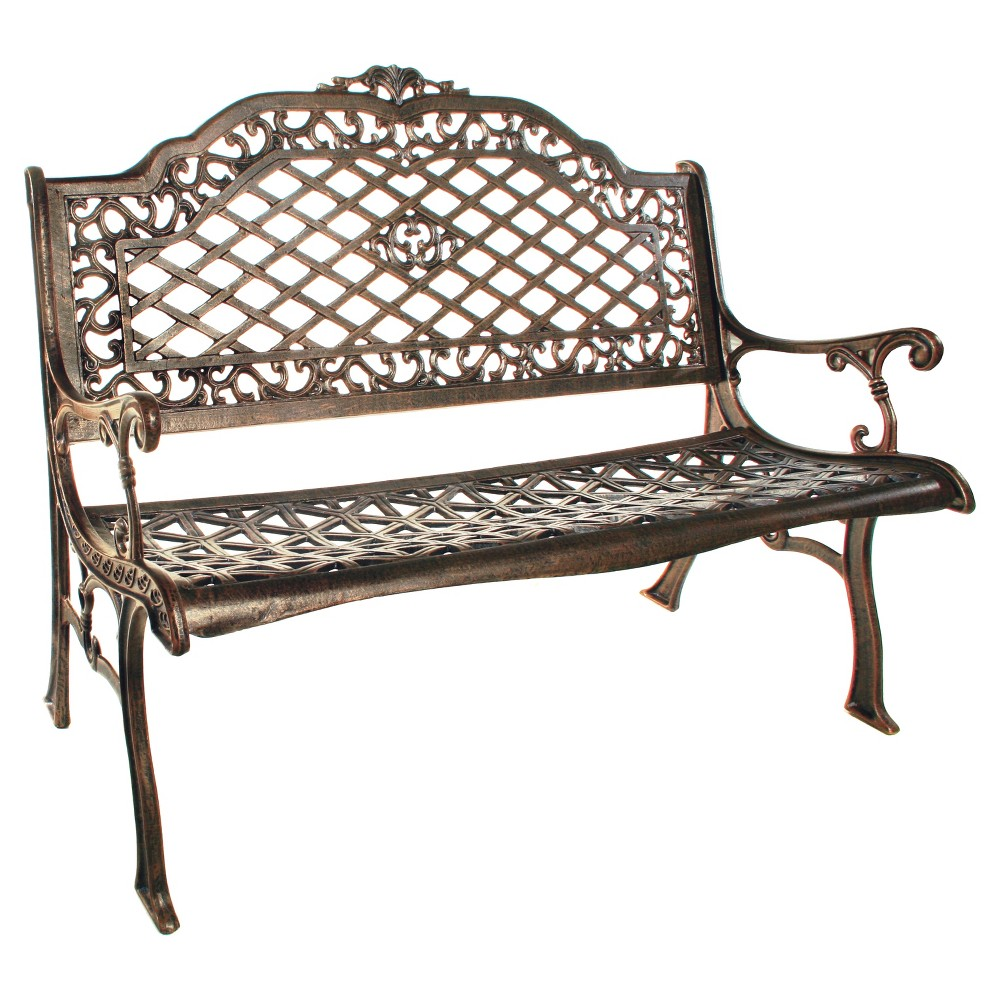 Image of Mississippi Cast Aluminum Patio Settee Bench