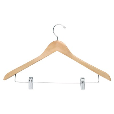 Basic Suit Hanger with Clips - Maple (12pk)