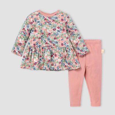 Burt's Bees Baby® Baby Girls' Flower Fields Tunic and Leggings Set - Red Newborn
