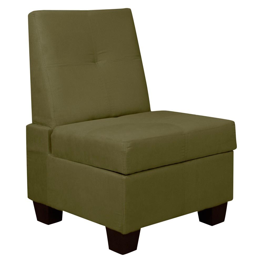 Valet Tufted Padded Hinged Storage Chair Suede Olive Green 24 Wide - Sit N Sleep, Olive Heather 24 Wide