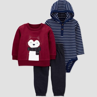 Baby Boys' 3pc Husky Crew Neck Top & Bottom Set - Just One You® made by carter's Burgundy 6M