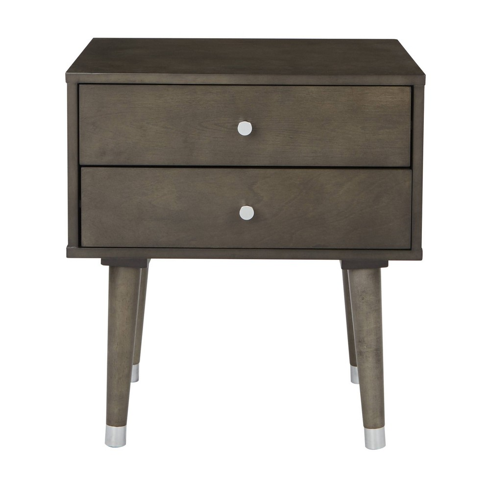 2 Drawer Cupertino Side Table Gray Osp Home Furnishings