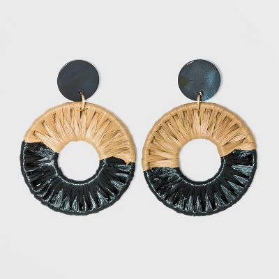 Shell Disc Post with Woven Raffia Drop Earrings - A New Day™