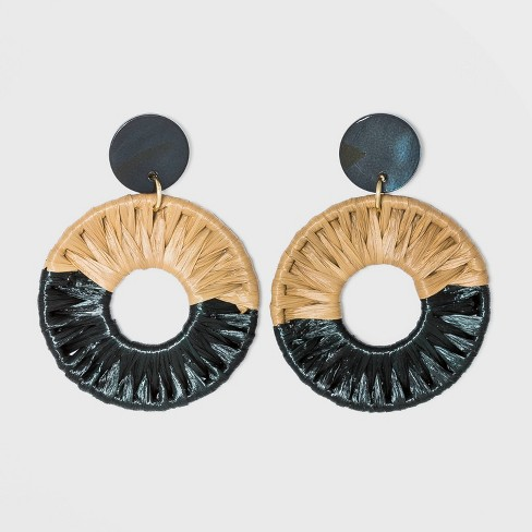 Shell Disc Post with Woven Raffia Drop Earrings - A New Day™ - image 1 of 2