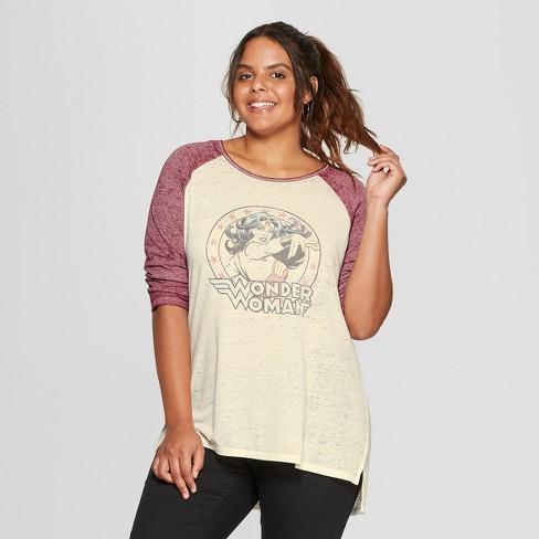 3b9e6ff08bc8b4 Women s 3 4 Sleeve DC Comics Plus Size Wonder Woman Raglan Graphic T-Shirt  (Juniors ) White