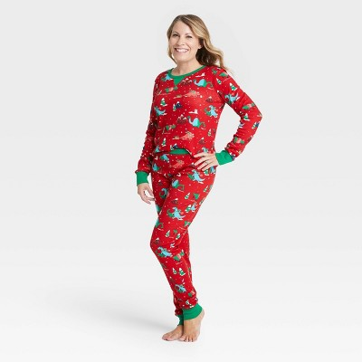 Women's Holiday Dino Print Matching Family Pajama Set - Wondershop™ Red