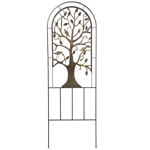 Arched Metal Garden Trellis With Symbolic Tree Of Life Design
