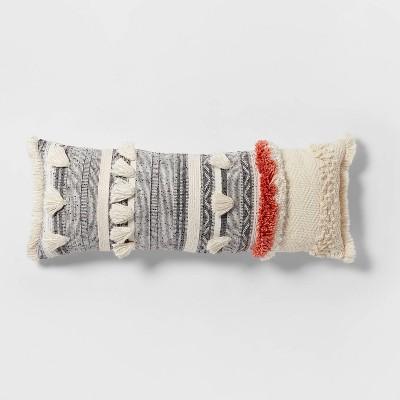 Tufted Multi Fringe Oversized Lumbar Pillow Cream - Opalhouse™