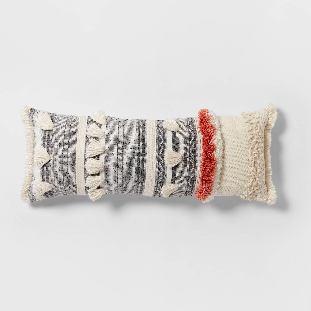 Tufted Multi Fringe Oversized Lumbar Pillow Cream Opalhouse 8482