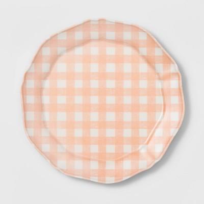 """11"""" Melamine Gingham Dinner Plate Pink - Threshold™"""