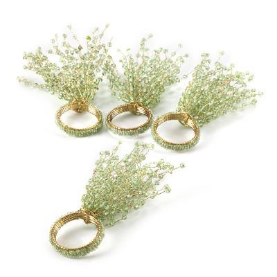 4pk Green Beaded Design Napkin Ring 1.5  - Saro Lifestyle®