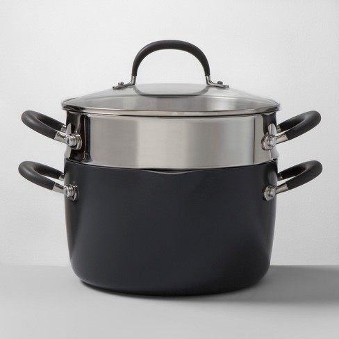 Ceramic Coated Aluminum 6qt Lidded Stock Pot with Steamer Insert - Made By Design™ - image 1 of 4