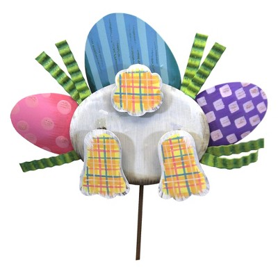 "Home & Garden 15.5"" Pile Of Eggs & Bunny Bottom Grass Hunt Round Top Collection  -  Decorative Garden Stakes"