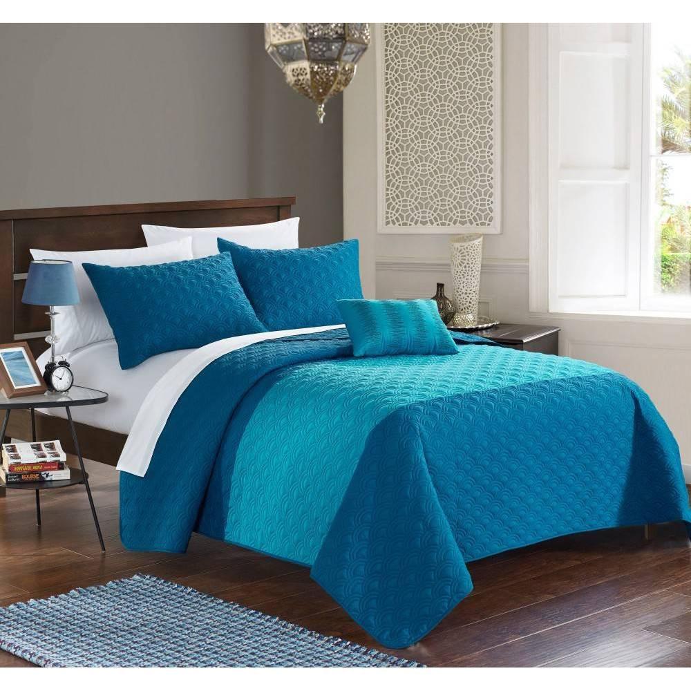 Chic Home Design King 4pc Walker Quilt & Sham Set Teal (Blue)