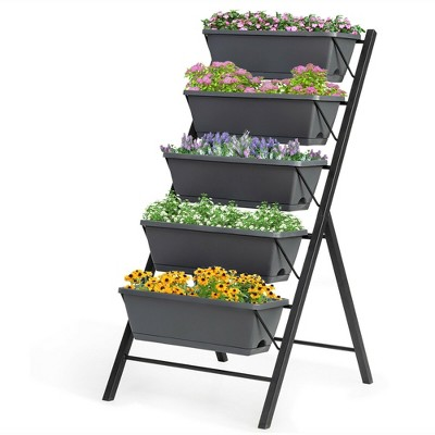 Costway 4 FT Vertical Raised Garden Bed 5-Tier Planter Box for Patio Balcony Flower Herb