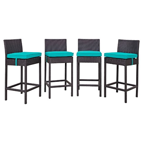 Convene 4pk All-Weather Wicker Patio Dining Chairs - Espresso/Turquoise - Modway - image 1 of 2