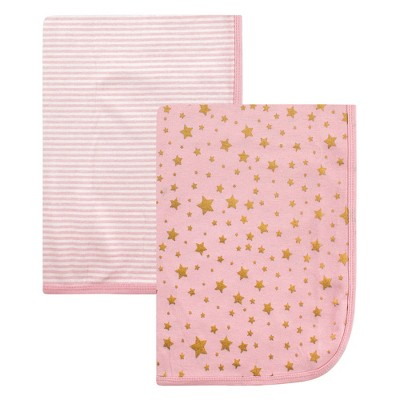 Hudson Baby Infant Girl Cotton Swaddle Blankets, Gold Star, One Size