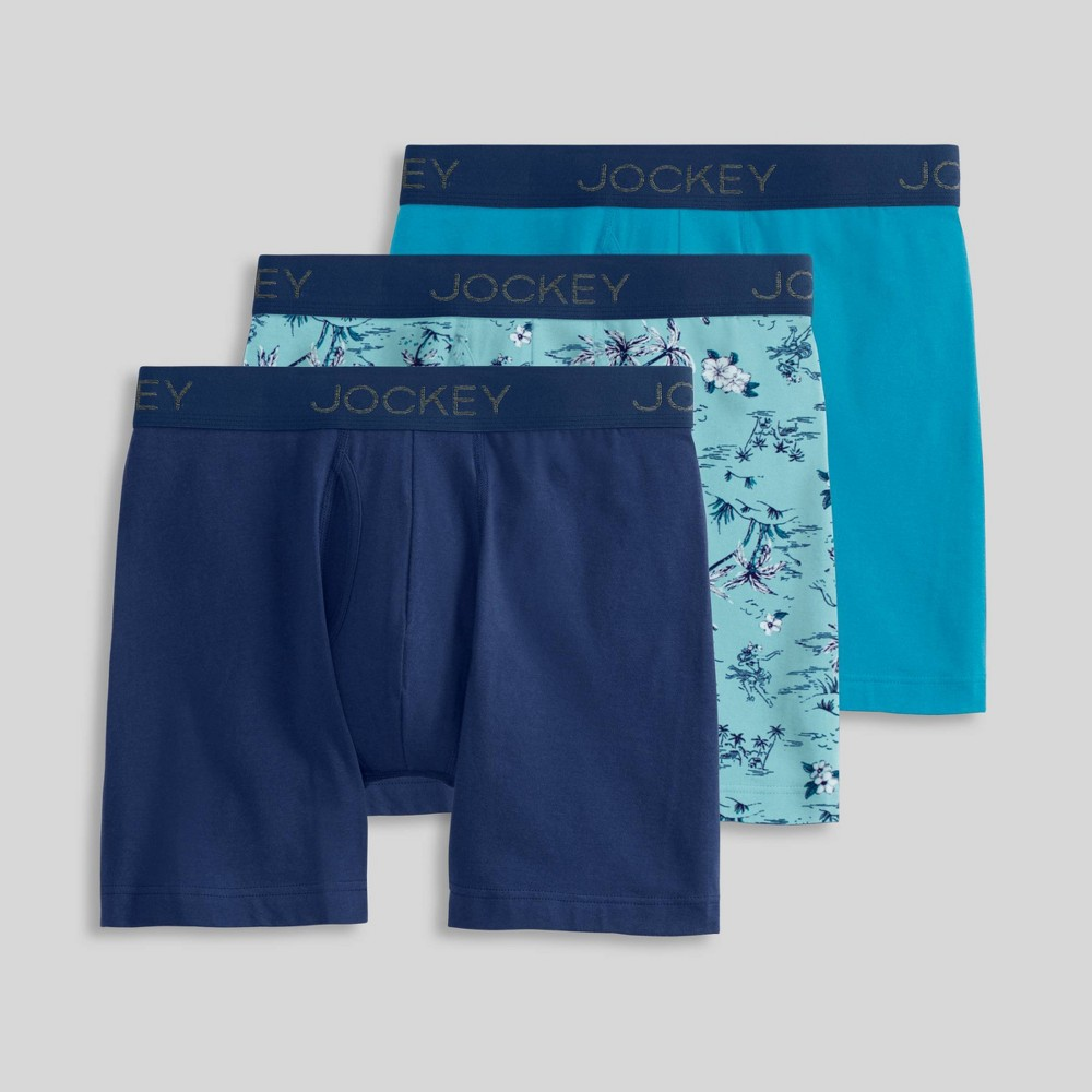 Image of Jockey Generation Boys' 3pk Boxer Briefs - Navy/Turquoise L, Boy's, Size: Large, Blue/Turquoise