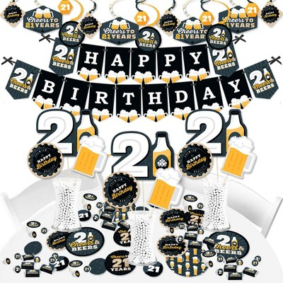 Big Dot of Happiness Cheers and Beers to 21 Years - 21st Birthday Party Supplies - Banner Decoration Kit - Fundle Bundle