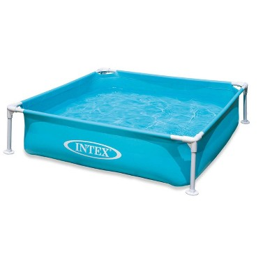 Intex 57173EP 4ft x 4ft x 12in Miniature Outdoor Frame Beginner Teaching Above Ground Square Kiddie Swimming Pool for Ages 3 and Up, Blue