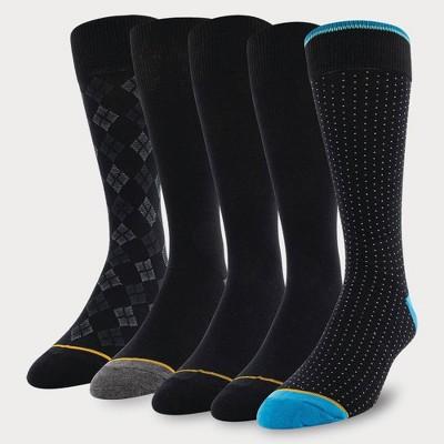 Signature Gold by GOLDTOE Men's Dot Crew Socks 5pk - Black 6-12.5