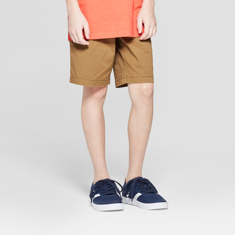 Boys' Stretch Chino Shorts - Cat & Jack Khaki (Green) 4