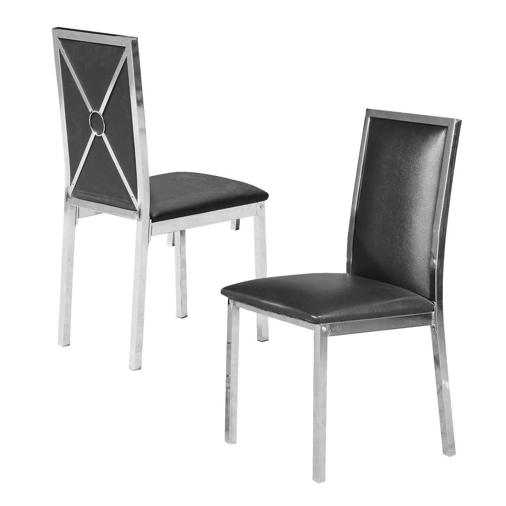 Jaime Metal Chairs Silver/Black Set of 2 - Home Source Industries