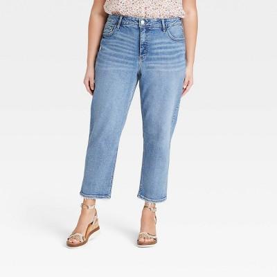Women's Plus Size High-Rise Slim Straight Jeans - Ava & Viv™