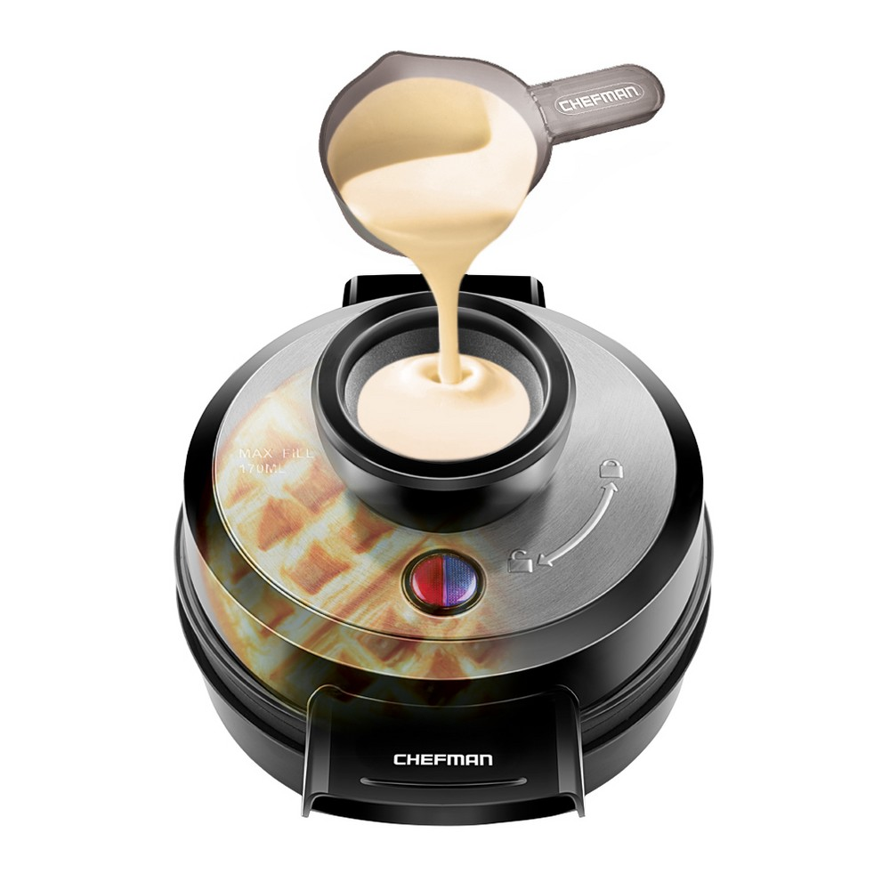Image of Chefman Perfect Pour Volcano Belgian Waffle Maker, Medium Silver