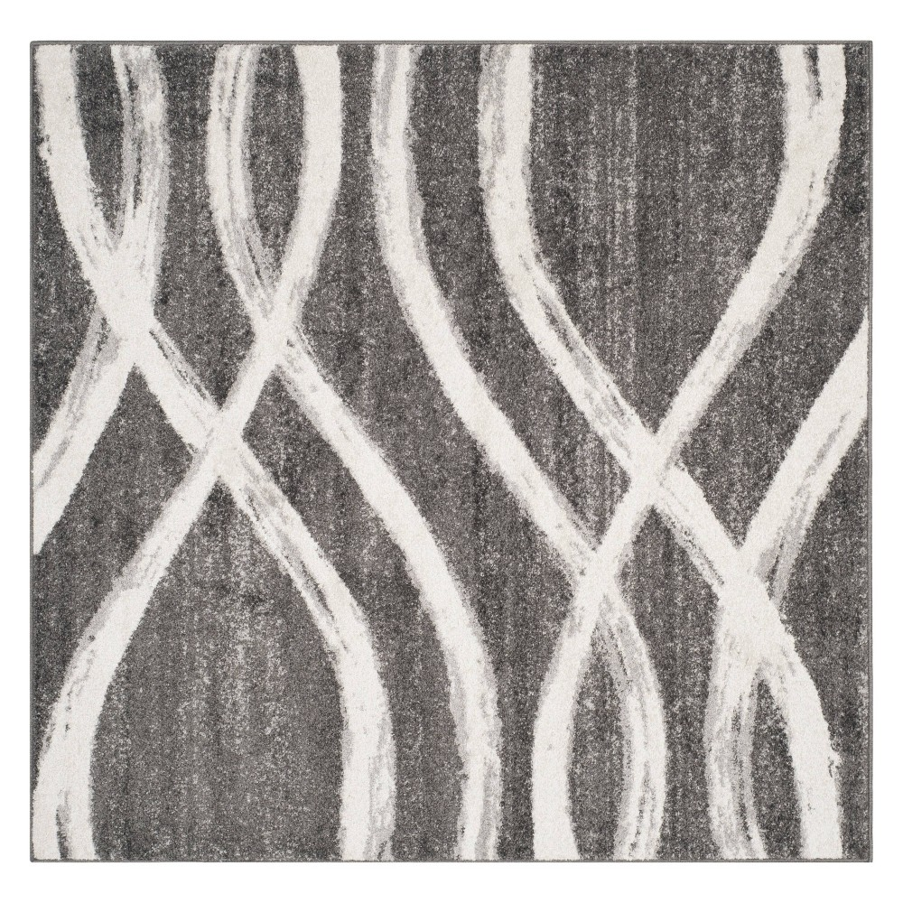 4 X4 Wave Square Area Rug Charcoal Ivory Safavieh