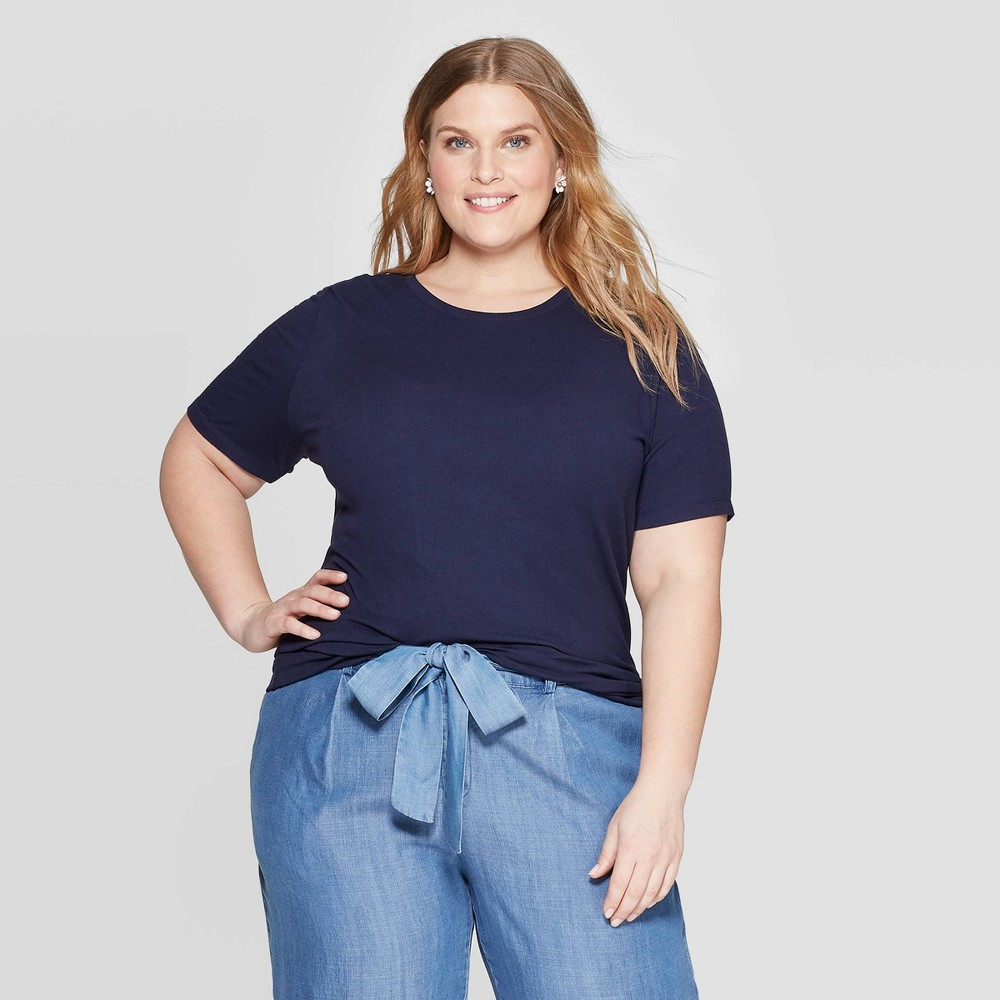 Women's Plus Size Short Sleeve Crewneck Rib T-Shirt - Ava & Viv Navy (Blue) X