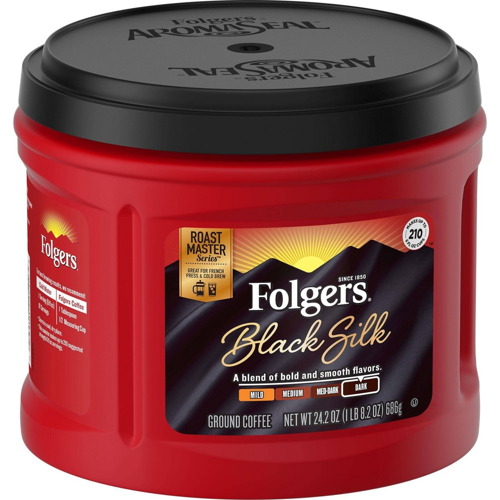 Folgers Black Silk Dark Roast Ground Coffee 24 2oz