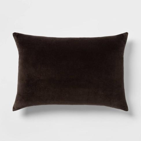 Velvet Lumbar Pillow with Linen Reverse Wagon Brown/Black - Threshold™ - image 1 of 4