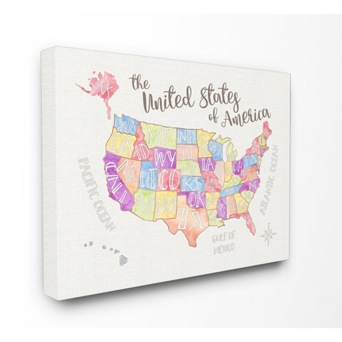 Us Map Water Color Stretched Canvas Wall Art Stupell Industries