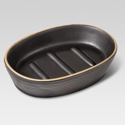 Ceramic Soap Dish Black/Gold - Threshold™