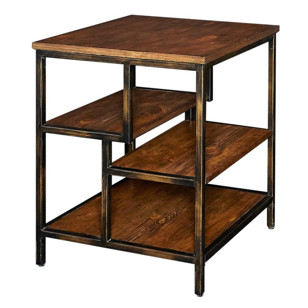 Matteo Side Table Dark Honey - Powell Company, Brown