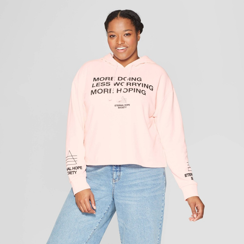 Women's Plus size Talking Doing Worrying Hoping Hooded Cropped Sweatshirt - Mighty Fine (Juniors') - Pink 3X