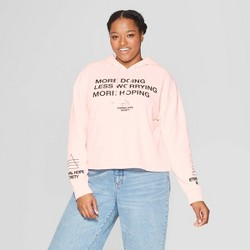 3277e820351 Women s Plus Size Talking Doing Worrying Hoping Hooded Cropped Sweatshirt -  Mighty Fine (Juniors