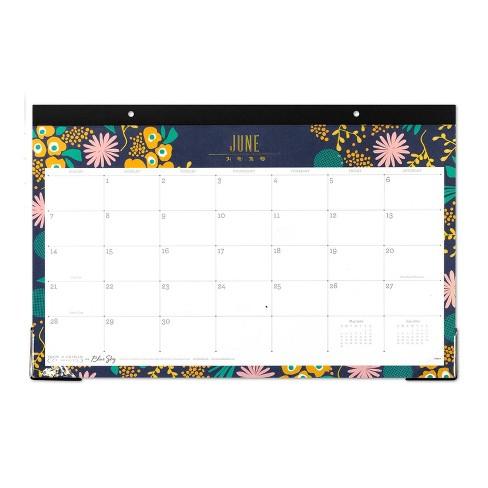 2020 Desk Calendar 2019 2020 Academic Desk Calendar Navy Flowers   Snow & Graham