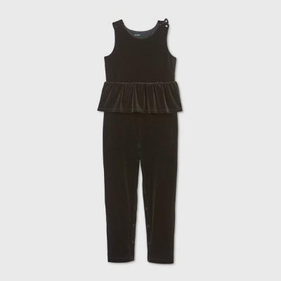 Girls' Adaptive Abdominal Access Velour Jumpsuit - Cat & Jack™ Black