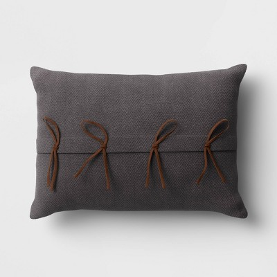 Lumbar Faux Suede Tie Throw Pillow Gray - Project 62™