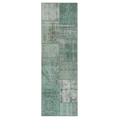 Antique Patchwork Rug Green - Istanbul Vintage Looms - image 1 of 1