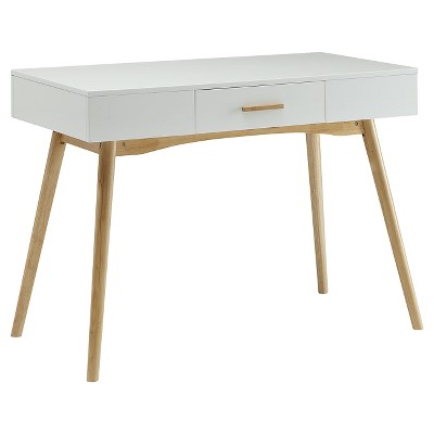 Oslo one drawer Desk White/Brown - Convenience Concepts