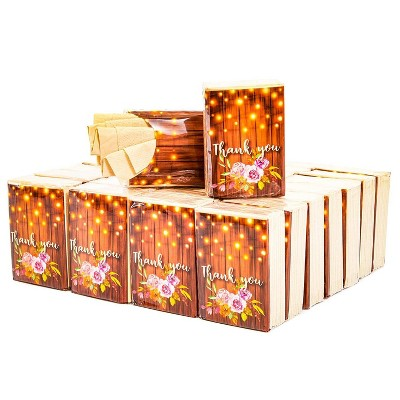Sparkle and Bash 60-Pack Rustic Wood Thank You Travel Pocket Facial Tissue Packs