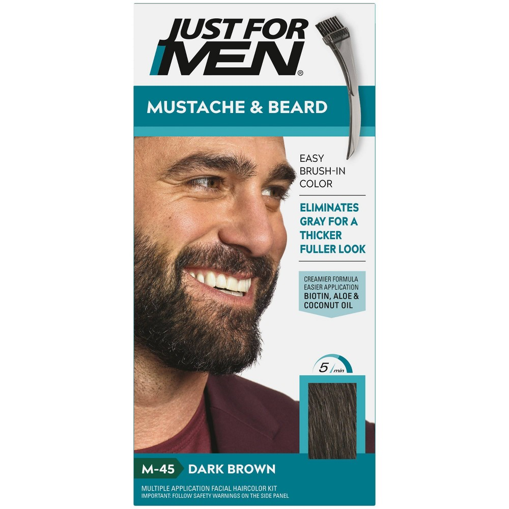 Image of Just For Men Mustache & Beard Beard Color - ing for Gray Hair with Brush Included Color - Dark Brown M45