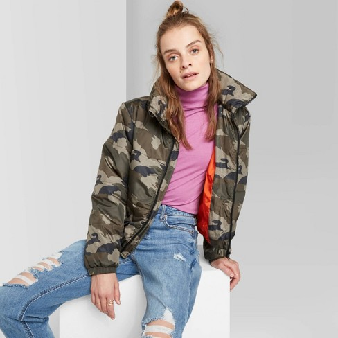 Women's Camo Print Zip-Up Puffer Jacket - Wild Fable™ Olive  - image 1 of 3
