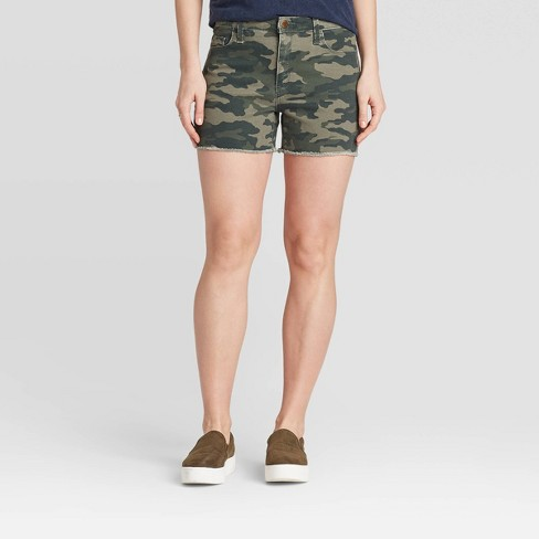 Women's High-Rise Jean Shorts - Universal Thread™ Camo Print - image 1 of 3