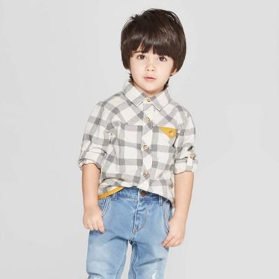 Genuine Kids® from OshKosh Toddler Boys' Long Sleeve Plaid Button-Down Shirt - Cream/Gray 12M